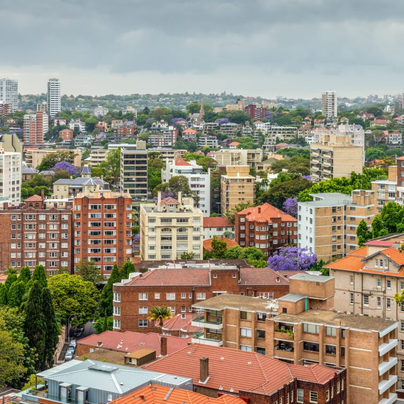 View of Sydney in cloudy weather - full frame horizontal composition - Potts Point district and other