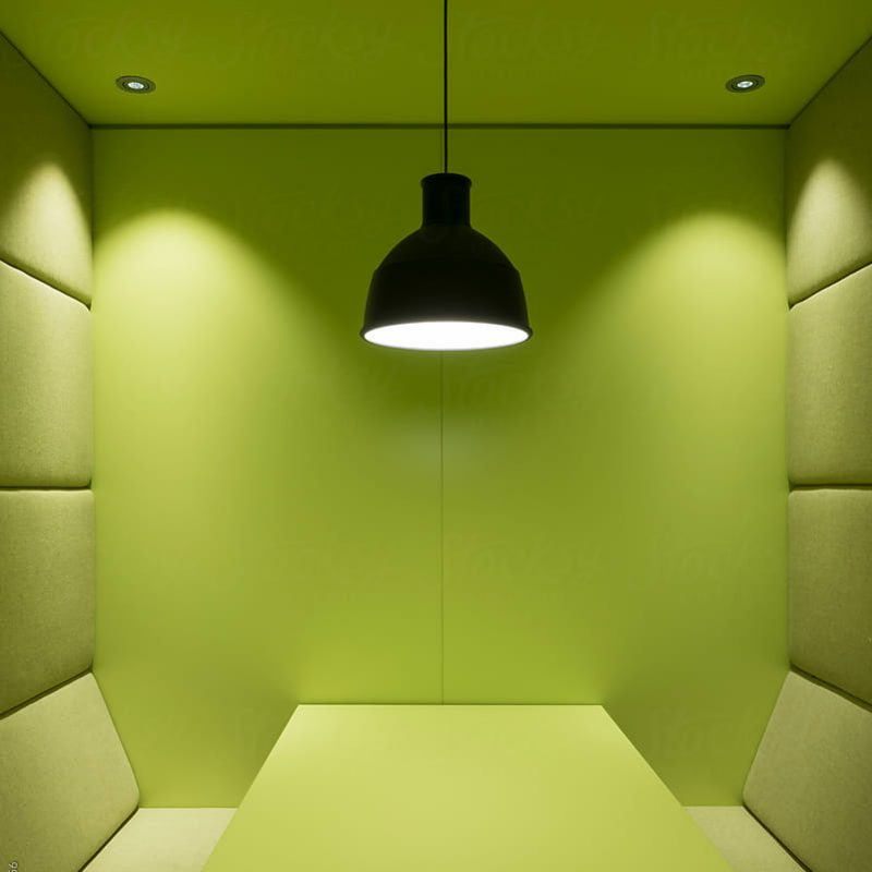 Modern office space, workspace, soundproof